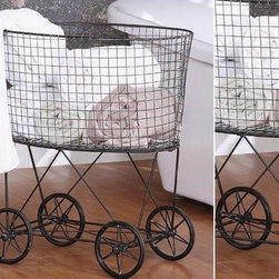 Vintage Inspired Laundry Basket with Wheels - A vintage reproduction laundry basket on wheels makes a tedious chore fun. Or forget the laundry! Park it in your bathroom to hold extra towels, in the living room to hold extra throw blankets, or in the playroom to hold toys.