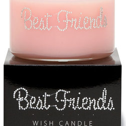 Primal Elements - Best Friends Wish Candle - Bright sunny citrus with a hint of delicate floral. 9.5-ounce 2-wick Wish Candles have an approximate burn time of 35-40 hours. Make a wish for yourself or share one with a friend. Our beautifully hand jeweled Wish Candles fill your space with a sparkling expression and a warm glow. Featuring our original fragrances and a unique vegetable wax blend, each Wish Candle will provide approximately 35-40 hours of twinkling burn time.