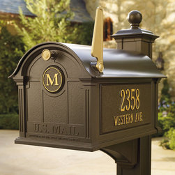 """Frontgate - Balmoral Mailbox - Magazines lay flat in the generous interior. Personalize the panels with your address on both sides and an optional single-initial monogram on the door. Die-cast aluminum construction. Durable powdercoat finish with a lifetime limited warranty. Golden text, flag, and pull knob. Our Personalized Balmoral Mailbox is so impressive, you'll be proud to display this curbside accessory in front of your home. The oversized mailbox is constructed in thick cast aluminum with a strong, magnetic closure on the hinged door creating a watertight seal.  .  . .  .  . 60"""" Post and Bracket sold separately . Post requires a 4"""" x 4"""" treated lumber piece for installation (not included) U.S. Postal Service approved . Wipe clean with a soft, damp cloth. At least 30"""" in-ground installation recommended for optimal stability. Allow up to four weeks for delivery . View assembly instructions (approximate assembly time is 30 minutes) . Please check for accuracy; personalized orders cannot be modified, cancelled, or returned after being placed. Mailbox made in China; plaques made in the USA. Limited lifetime warranty."""