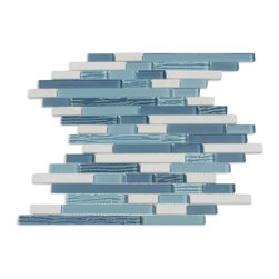 Supah Fish Tiles - Spirited Glass Sky Blue Random Mosaic - This glass mosaic series comes in two sizes. A mini square mosaic and a random linear pattern. Your backsplash is ready to be covered.