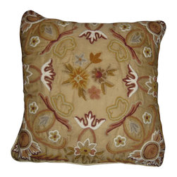 Crewel Fabric World - Crewel Pillow Art Nouveau Desert Sand Silk Organza 16x16 Inches - Artisans in a remote mountain village in Kashmir crewel stitch these blossoms, vines and leaves by hand, resulting in a lush pattern of richly shaded wool yarns on Linen, Cotton, Velvet, Silk Organza, Jute. Also backed in natural linen, Cotton, Velvet Silk Organza, Jute with a hidden zipper.