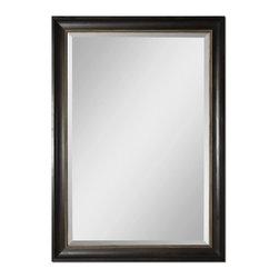 "Uttermost - Axton Dark Mahogany Wood Tone Rectangular Mirror - This stately, oversized mirror features a dark mahogany wood tone finish with an antiqued champagne liner. Mirror has a generous 1 1/4"" bevel."