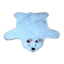 Fur Accents - Shaggy Faux Fur Teddy Bear Play Rug, Off-White Throw, 5' x 6' - Wonderful and Fun, Plush Faux Fur Teddy Bear Accent Rug. Soft Pink Ultra Suede Ears, Button Eyes. Soft, Shaggy, Off White. Design Nursery Throw Carpet. Made from 100% Animal Free and Eco Friendly Fibers. Hypoallergenic Polyester. Perfect for any room in the houzz. Spread out in front of the Hearth, or place beside the bed or crib in the babies bedroom. Tastefully lined with real Ultra Suede. Luxury, Quality and Unique Style for the discriminating designer and decorator.