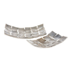 """Arteriors - Arteriors Home - Gabby Trays (Set of 2) - 4136 - This set of two aluminum trays have been cast but appear as if they were woven and then gently curved by hand. The surface texture enhances the natural finish. Dry food safe. Features: Gabby Collection TraySet of 2Polished Aluminum Some Assembly Required. Dimensions: W: 14.5"""" x D: 9"""" x H: 2.5"""""""
