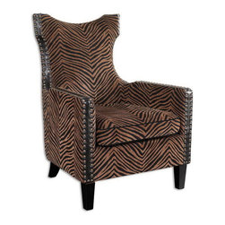 """Uttermost - Uttermost 23003  Kimoni Wing Back Armchair - Styled with an exotic high back and curved rear legs, this chair features plush stripes with black cording and side trim, double row nail head detail and ebony stained wood. hardwood construction with removable seat cushion. light assembly. seat height is 20""""."""