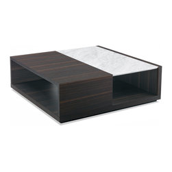 Poliform - Poliform Class Coffee Table - Class is a collection of coffee tables with a style simultaneously conveying both traditional and contemporary ideals.  Structure in Spessart Oak.  Top available upholstered in hide or a selection of stone including petit granite, white carrara, and black granite.  Designed in 2010.