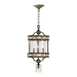 Kathy Kuo Home - Buckingham Victorian Champagne Crystal 3 Light Entryway Chandelier - The Buckingham entryway chandelier e features long vertical icicle drops of champagne crystal detailing reminiscent of an aristocratic Victorian era.  Executed in wrought iron in a mottled brown St. Regis bronze finish.