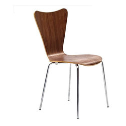 Modway - Ernie Dining Side Chair in Walnut - Minimalist in nature though it may be, this seat doesn't skimp on comfort. Its seemingly rigid design, flexes to the contours of the human body, making it a great side chair for homes and businesses alike.