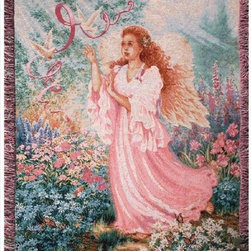 Manual - Dona Gelsinger Dawn of Hope Inspirational Tapestry Blanket 50 Inch x 60 Inch - This multicolored woven tapestry throw blanket is a wonderful addition to any home. Made of cotton, the blanket measures 50 inches wide, 60 inches long, and has approximately 1 1/2 inches of fringe around the border. The blanket features a depiction of artist Dona Gelsinger's 'Dawn of Hope', inspirationally themed art. Care instructions are to machine wash in cold water on a delicate cycle, tumble dry on low heat, wash with dark colors separately, and do not bleach. This comfy blanket makes a great gift for friends and family.