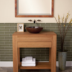 Sumatra Bamboo Vanity by Native Trails - Handcrafted from solid, sustainable bamboo vanity with integral top, and a flush soft-close drawer. The warm tones of the bamboo and the clean lines make this contemporary and sustainable piece perfect for your eco-conscious design.