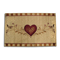 Tole Painting Style Throw Rug with Heart - This pretty tole painting style throw rug adds a lovely accent to any room in your home. It is made of polypropylene pile, with jute and polyester edges, and it measures 2 feet 7 inches wide by 4 feet 1 inch long. This rug is stain resistant and colorfast, and it is recommended to spot clean only.