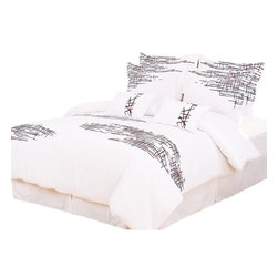 Bed Linens - Lily 7-Piece Duvet Cover Set, Queen - Impressions Collection, Lily Duvet Cover Set updates your room with a look of natural sophistication. Broken lines of Red and Black embellishments on a smooth elegant white background present a refreshing appeal to any bedroom.