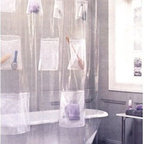 Mesh Pockets Clear Vinyl Shower Curtain - Kids will probably love seeing their toys displayed on this shower curtain. Parents will have to help kids get toys out of the higher pockets, but it's a nice way to keep toys out of the way — no more stepping on them when it's your turn.
