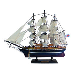 "Handcrafted Model Ships - Cutty Sark 14"" - Wooden Clipper Ship - Sold Fully Assembled Ready for Immediate Display - Not a Model Ship kit. Recall the days of the clipper ships with these adorable tall ships models inspired by the famous tea clipper Cutty Sark. Resting easily upon and shelf or desk, this tall model ship will brighten the decor of any room with a touch of nautical history and the free spirit of the open sea. 14"" Long x 3"" Wide x 12"" High (1:240 scale)."