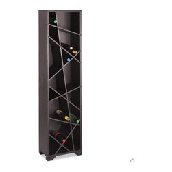 oblique wine rack - This contemporary wine rack is a tower of fun zig-zagged lines that will help you keep a good supply at home.