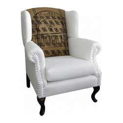 """Wingback Chair-Linen and French Jute - A newly manufactured in America Wing back chair with hardwood frame, upholstered in pure white linen and vintage french jute grain sack textile. The back cushion in original stenciling reads MINOTERIE Des CORDELIERS which in English """"Milling The Cordeliers"""" family."""
