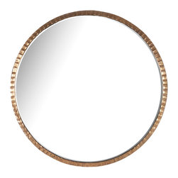 Kathy Kuo Home - Yorkville Hollywood Regency Large Thin Round Wall Mirror - Sometimes the most fascinating item in the room is also the most simple, as with our hand-hammered gold frame surrounding this large circular mirror. Fine detailing on the distressed metal frame contrasts with the sleek, clean lines of the perfect round mirror. The slim profile makes this piece an ideal choice for a narrow space like a hallway or staircase.