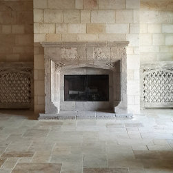 Living Room Stone Fireplaces II - Ancient Stone Fireplaces by Ancient Surfaces.