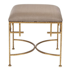 worlds away - Lolita Square Stool with Linen Top-Gold Leaf - Hammered gold leaf stool w. beige linen upholstered top.