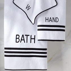 "Legacy Home - Legacy Home ""Roma"" Towels - White cotton terry towels with black tape trim have their duties spelled out in black embroidery. Wash cloth is embroidered with a single W. Machine wash. Bath towel, 30"" x 54"". Hand towel, 20"" x 30"". Wash cloth, 13""Sq. Made in the USA."