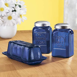 Cobalt Blue Accessories - Vintage charm in modern manufacturing is shown in this butter dish and salt and pepper shakers in stunning cobalt blue glass.