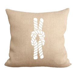 Fiber and Water - Reef Knot Pillow - An illustration of the popular reef knot. A great nautical print for your home! Hand-pressed onto natural burlap using water-based inks.