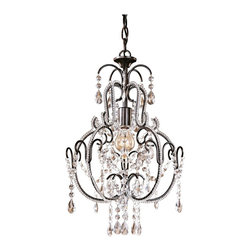 "Minka Lavery - Crystal Taylor Bronze 12 1/2"" Wide Mini Chandelier - Decorate a seating area or bedroom with this bronze finish mini chandelier. From Minka-Lavery the small chandelier is perfect for tight spaces. It comes with glass stands and droplets set against a bronze finish scroll frame and canopy. Takes one 60 watt bulbs (not included). 12 1/2"" wide. 20"" high.  Taylor bronze finish.  Glass strands and droplets.  Lavish scroll frame.  By Minka Lavery chandeliers.  Takes one 60 watt bulbs (not included).   12 1/2"" wide.   20"" high."