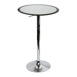 Lumisource - Black Ribbon Bar Table - Looking for an updated bar table? The Ribbon Bar Table features silver ABS non-swivel top for extra stability with a stylish black rim accent. Hydraulic lever adjusts the table from 26 to 41 inches in height. The polished chrome base and pole complete the look of elegance.