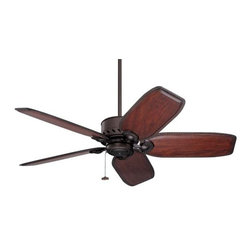 """Fifthroom - 52"""" Oil Rubbed Bronze Maubay Outdoor Ceiling Fan w/ Hand-Carved Walnut Blades - If you want a ceiling fan that doesn�t look so tropical, this ceiling fan is fit for a formal dining room!  With hand-carved dark Walnut blades and oil rubbed downrod, this is an absolutely elegant addition to any refined decorating scheme."""