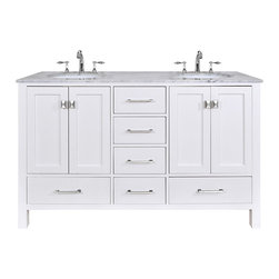 "60"" Malibu Pure White Double Sink Bathroom Vanity - An ideal complement to a contemporary decor, the 60"" Malibu Double Sink Vanity embodies the clean edges and sophistication of modern design. The pure white cabinet, made of solid oak lends a cozy feeling to your bathroom that matches beautifully with the Carrara White Marble top. Sleek and simple stainless steel hardware dresses up the European soft-closing sliders and doors, which give you ample space to store your bathroom items."