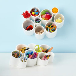 Cubby Cups, White - Cubby cups are the perfect way to store lots of enticing art materials right on the table.