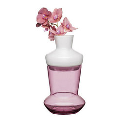 Purple Two Tone Vase - Summer is the season for decorating your home with beautiful flowers. Display your favorites in this beautiful Scandinavian inspired vase. A stunning combination of radiant orchid and solid white glass, this vase will brighten up your kitchen with any combination of flowers. For a fun twist, the vase can be taken apart to create two separate vases.