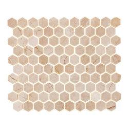 "Tile Circle - Crema Marfil Marble Polished 1"" Hexagon Tile, 12x12 - Crema Marfil marble hexagon tiles add elegance to kitchen backsplashes or bathroom floors and walls."