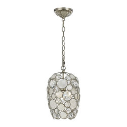 "1 Light 8""Antique Silver Mini Chandelier with Natural White Capiz Shell Hand Cut - This beautiful mini chandelier will be a great addition to any home!"