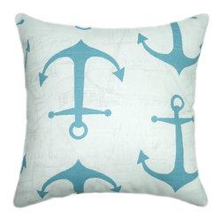 Land of Pillows - Anchors Outdoor Pillow, Ocean, 16x16 - Fabric Designer - Premier Prints