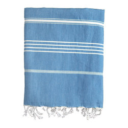 Nine Space - Stripe Fouta Towel, Blue - Give your space a Mediterranean makeover with the addition of this thin-striped fouta. Woven from pure Turkish cotton, it adds an instant shot of color and texture wherever you place it — across the dining table, along the back of a couch or hanging in the guest bath. Use it poolside or at the beach as a sophisticated wrap or towel.