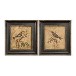 Uttermost - Colorful Birds On Branch Art Set of 2 - Every home has a small space on a wall for small, interesting art. The wall next to the kitchen door, for example. Or the entryway wall. You can hang these beautiful, hand-painted birds side by side or on top of each other to bring color and interest to an otherwise empty space.