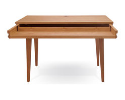 Jesper Office Furniture - Highland 75 Small Desk with Wood Legs in Cherry - Features: