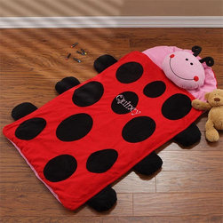 Miss Ladybug Embroidered Nap Mat - This personalized ladybug nap mat is great at grandma's house, day care or home. It includes an attached fleece blanket and pillow for easy transporting and pack up.