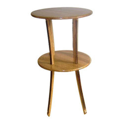 """Master Garden Products - Reclaimed Oak Wood 2 Tiers Pedestal Table, 20""""L x 20""""W x 35""""H - Our two tiers round pedestal table is constructed with reclaimed oak staves from used wine barrels. Excellent for your cellar or wine bar at home or business. It can also be used as a display table.  Comes disassembled and finished with 2 coats of clear acrylic.  20"""" diameter round table top, 19"""" diameter lower tier round table top, 35"""" H."""