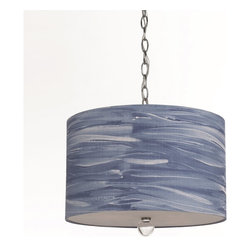 """Horizons - Horizons Water Color Coast Pendant Light X-H3-9138 - Water Color Coast portable pendant was inspired by the waves of the open ocean and matches with the 8277-TL table lamp.  The hand-printed shade is a great updated coastal look. Measuring 12.5""""H x 16""""W this pendant requires 3 60W Edison based bulbs. Due to"""