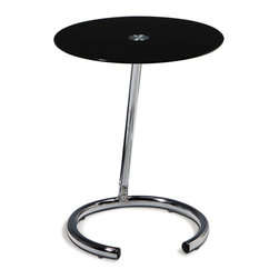 Avenue Six - Avenue Six Chrome End Table with Black Glass Top - Avenue Six - End Tables - YLD04 - The sophisticatedly urban Avenue Six Telephone Table gives you a convenient place to keep your telephone; no more searching for the cordless! The black glass and chrome design of this accent gives off a fun retro vibe. The sleek Telephone Table calls you to partake in some stimulating conversation.