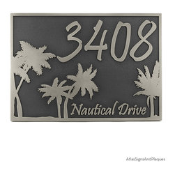 """Palm Tree Address Plaque 12"""" x 9"""" in Silver Nickel - Although palm tree fossils have been dated as far back as 80 million years, and fig palms were cultivated over 5,000 years ago, the palm tree image, for most of us, signifies sunshine, easy living, and drinks with little umbrellas shading tropical fruit garnishes."""