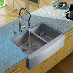 Vigo Industries - Platinum Farmhouse Stainless Steel Kitchen Sink Set with Two Grids - Includes stainless steel kitchen sink, stainless steel kitchen faucet, two matching grids, two strainers and stainless steel soap dispenser and all mounting hardware