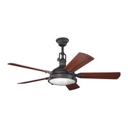"Kichler - 56"" Hatteras Bay 56"" Ceiling Fan Distressed Black - Kichler 56"" Hatteras Bay Model KL-300018DBK in Distressed Black with Reversible Cherry/Walnut Finished Blades."