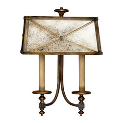 Fine Art Lamps - Newport Sconce, 563250ST - Inspired by the mansions of New England's most exclusive area, this stately sconce will surely add to the grandeur of your home. Clean, strong lines of burnished gold frame a shade made of distressed mirror for a classic look.