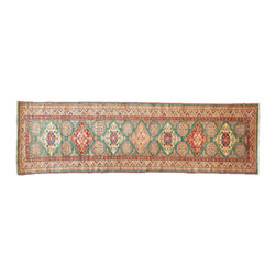 3'X9' Oriental Rug Runner, Super Kazak Hand Knotted 100% Wool Tribal Rug SH11113 - This collections consists of well known classical southwestern designs like Kazaks, Serapis, Herizs, Mamluks, Kilims, and Bokaras. These tribal motifs are very popular down in the South and especially out west.