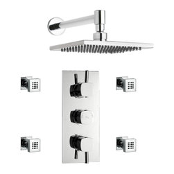 """Hudson Reed - New Kia Thermostatic Shower System With Dual Valve 8"""" Rain Head & 4 Body Sprays - The Hudson Reed Chrome Kia Thermostatic Two-Way (Triple) Shower Valve is constructed from brass and features ceramic disc technology. This elegant chrome finish shower valve supplies water at a pre-set temperature to either the Square Fixed Shower Head or 4 Body Jets."""
