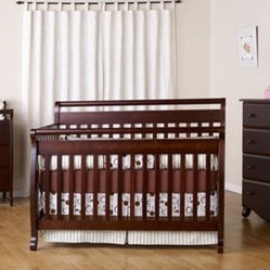 Emily Three Piece Convertible Crib Nursery Set with Toddler Rail in Espresso