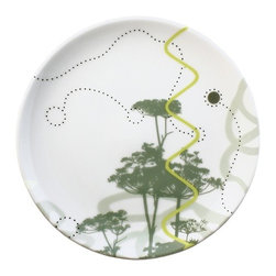 "InkDish - Poem 7.75"" Side Plate - David Palmer's first collection of dinnerware, Poem, is inspired by the central coast of California and the fields and woods the artist explored as a child in upstate New York. Within Poem there are suggestions of wind and water currents, light waves, the nuclei of cells, flight paths of birds and insects, and sounds at frequencies too high to hear. Features: Features: -Material: Porcelain. -Microwave safe. -Dishwasher safe. -Freezer safe. -Backstamp with mini artist biography."